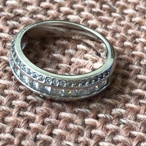 Jewelry - wedding eternity band sterling silver ring CZ s 8